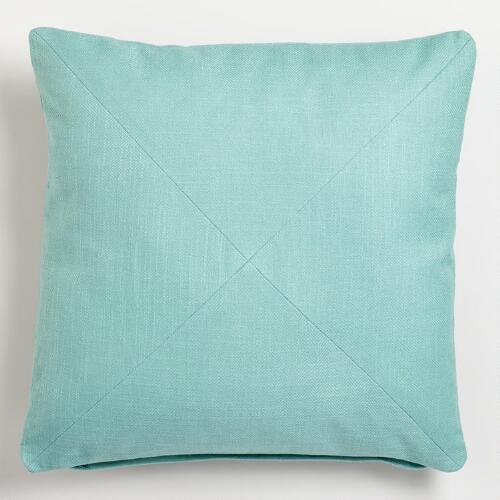 Blue Surf Cotton Herringbone Throw Pillow