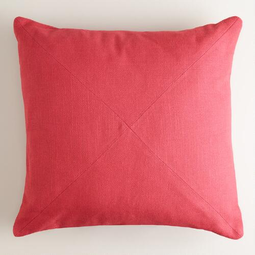 Cranberry Cotton Herringbone Throw Pillow
