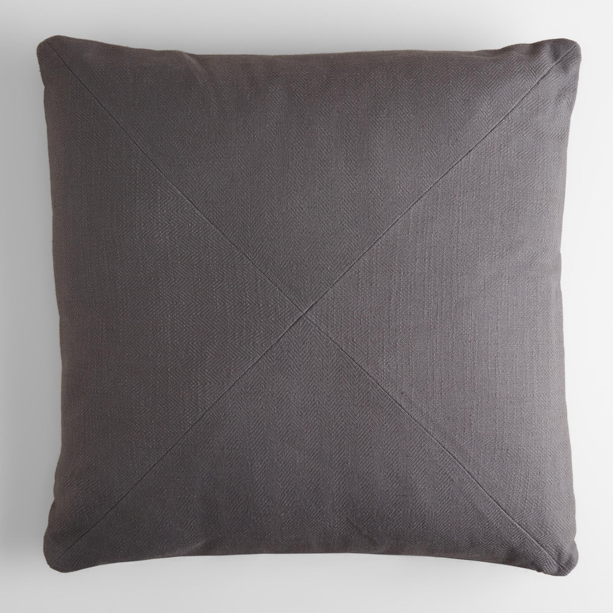 Tornado Gray Herringbone Cotton Throw Pillow World Market