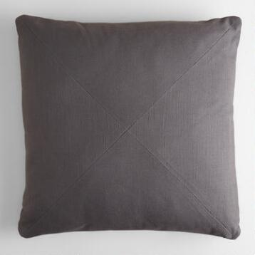 Tornado Gray Herringbone Cotton Throw Pillow
