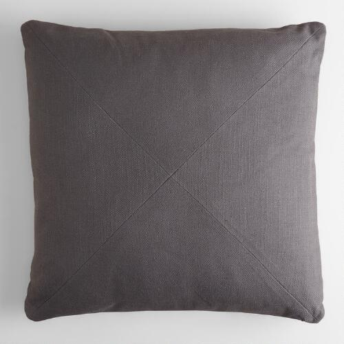 Tornado Gray Cotton Herringbone Throw Pillow