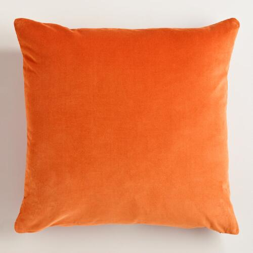 Orange Cotton Velvet Throw Pillows