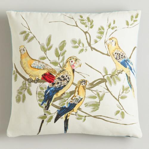 Watercolor Birds Throw Pillow