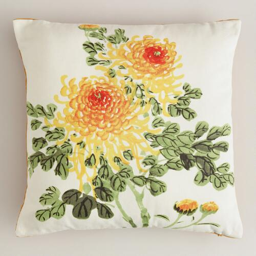 Watercolor Chrysanthemum Throw Pillow