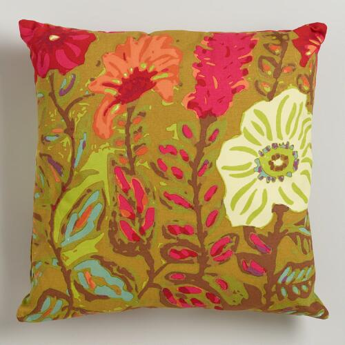 China Garden Floral Throw Pillow