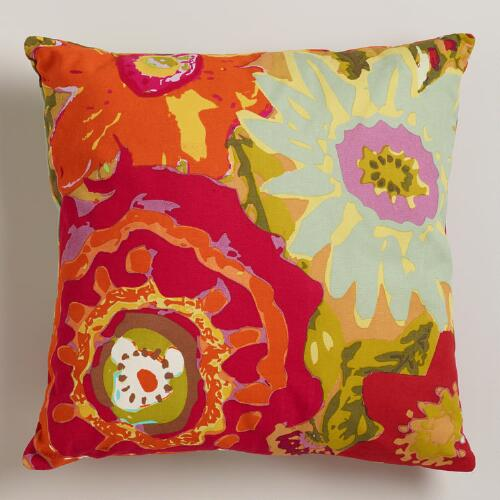 China Garden Oversized-Floral Throw Pillow