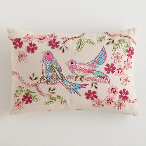 Spring Birds Embroidered Lumbar Pillow