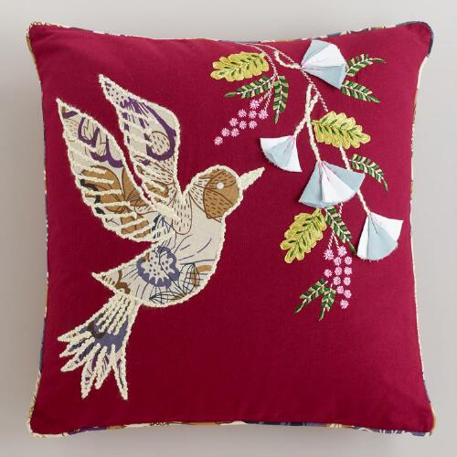 Bird Flight Embroidered Throw Pillow