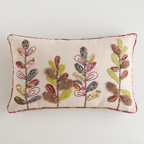 Spring Bloom Embroidered Lumbar Pillow