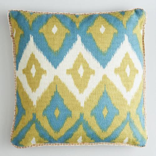 Green Ikat Print Burlap Throw Pillow