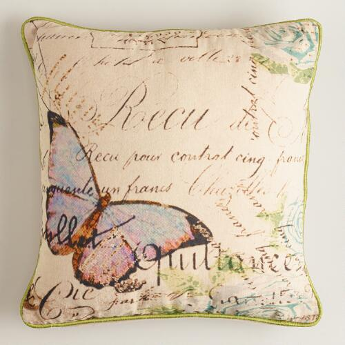 Butterfly with Script Throw Pillow