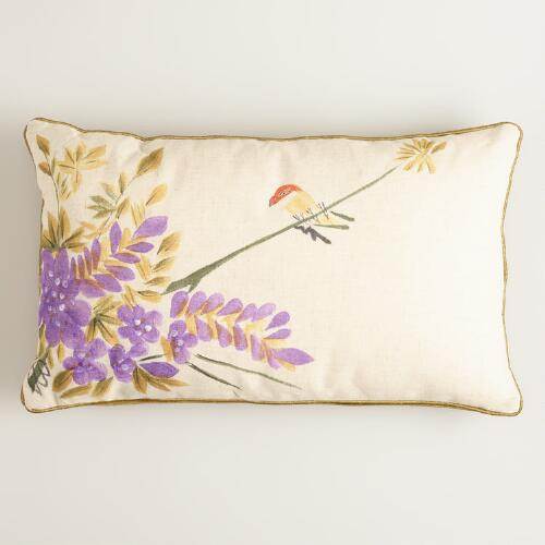 Yellow Hand Painted Bird Lumbar Pillow