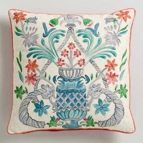 Hand Painted Flower Vase Throw Pillow
