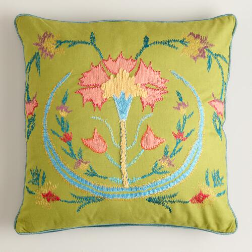 Green Flower Suzani Embroidered Throw Pillow