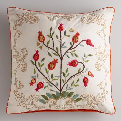 White Floral Tree Embroidered Throw Pillow