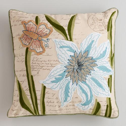 Garden with Script Embroidered Throw Pillow