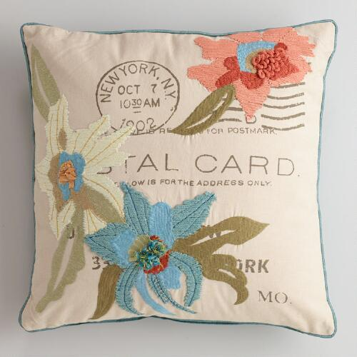 Flowers with Postcard Embroidered Throw Pillow