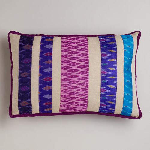 Plum Ikat Sari Lumbar Pillow