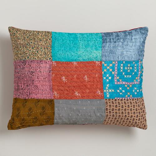Sari Patch Kantha Lumbar Pillow
