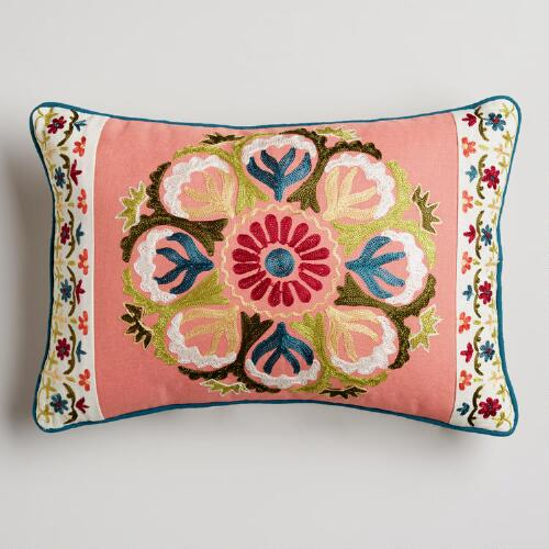 Flower Embroidered Lumbar Pillow
