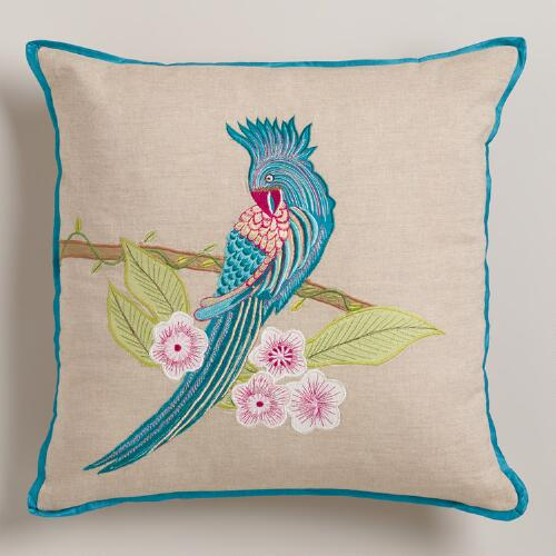Tropical Parrot Embroidered Throw Pillow