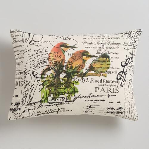 Three Birds with Script Lumbar Pillow