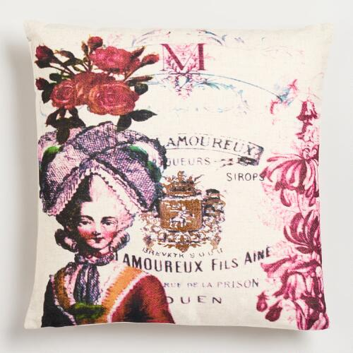 Queen Print with Script Throw Pillow