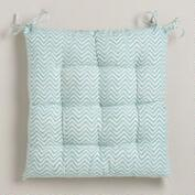 Beryl Green Chevron Chair Cushion