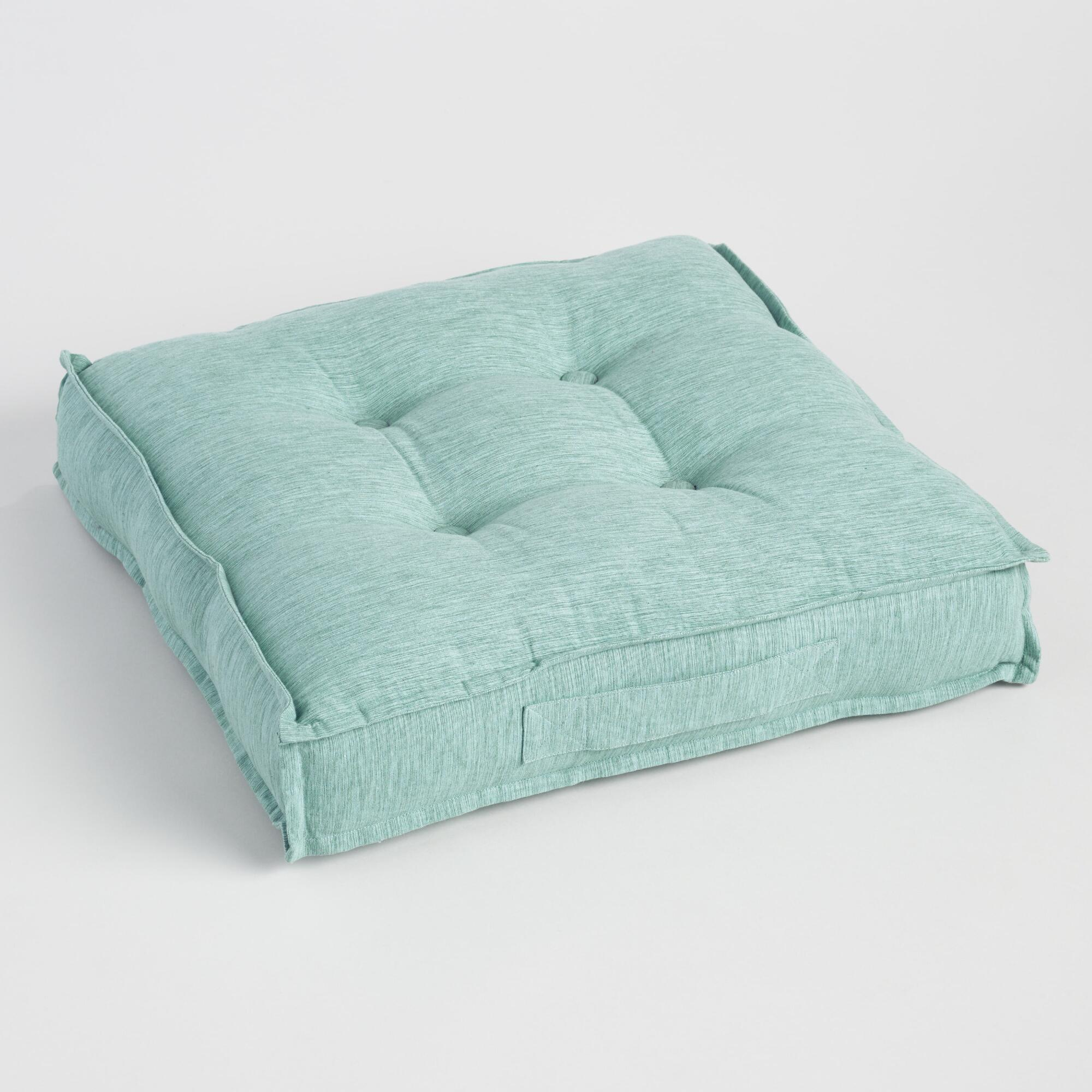 Chinois Aqua Khadi Tufted Floor Cushion World Market