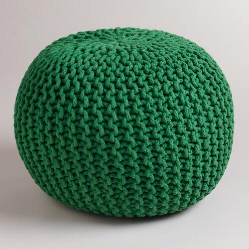 Green Grass Knitted Pouf