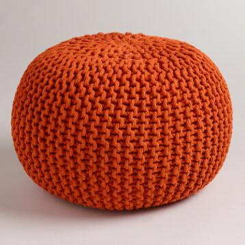 Jafra Orange Knitted Pouf