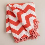 Orange and White Chevron Throw