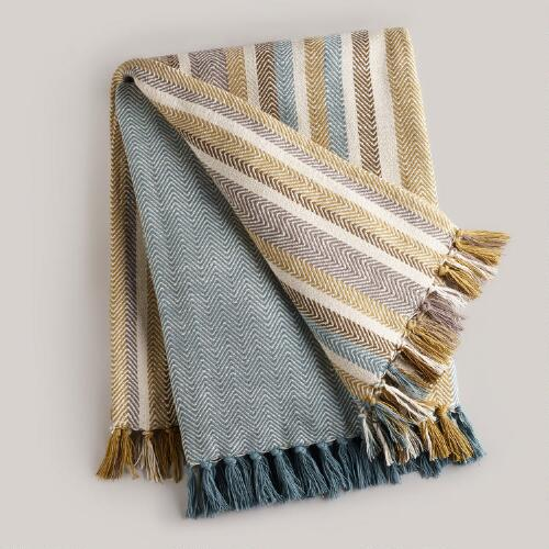 Aqua Stripe Herringbone Throw