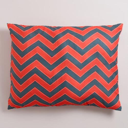 Orange and Gray Chevron Pet Bed