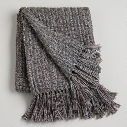 Gray Loft Lurex Throw