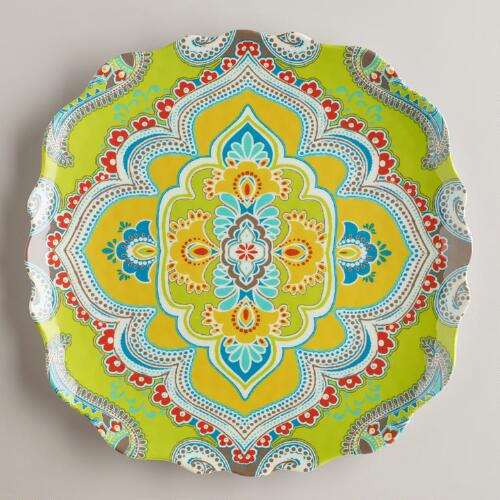 Green Paisley Antigua Plates, Set of 2