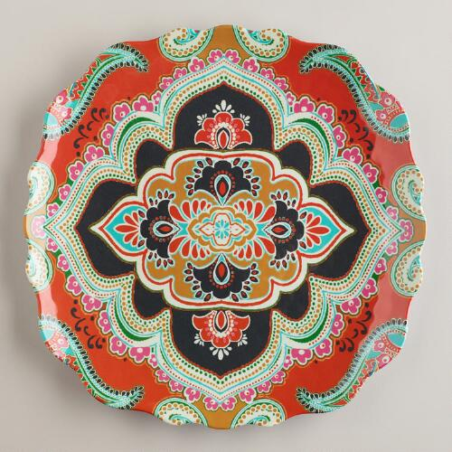 Orange Paisley Antigua Plates, Set of 2