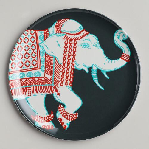 Grey Elephant Plates, Set of 2