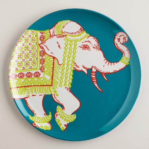 Aqua Elephant Plates, Set of 2