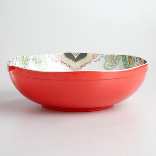 Warm-Toned Paisley Serving Bowl