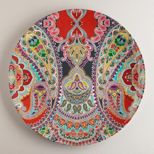 Orange Paisley Antigua Platter