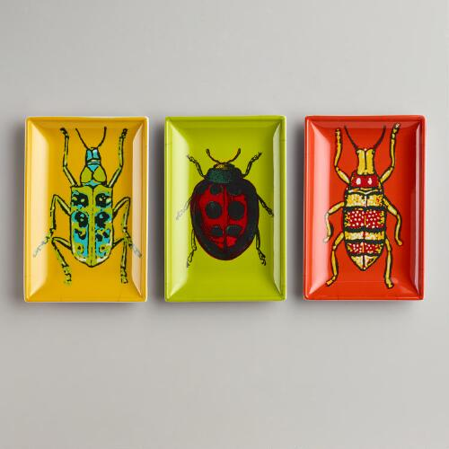 Rectangular Beetle Plates, Set of 3