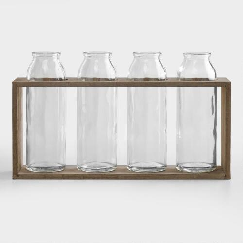 "6"" Bottle Vases with Wood Holder, Set of 4"