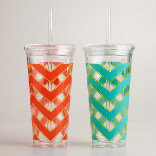 Chevron Double Wall Tumblers, Set of 2