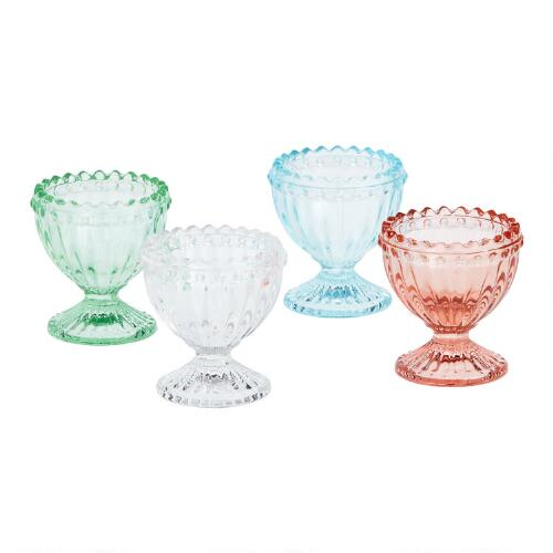 Fluted Glass Egg Cup, Set of 3