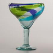 Cool-Toned Swirl Margarita Glasses, Set of 2