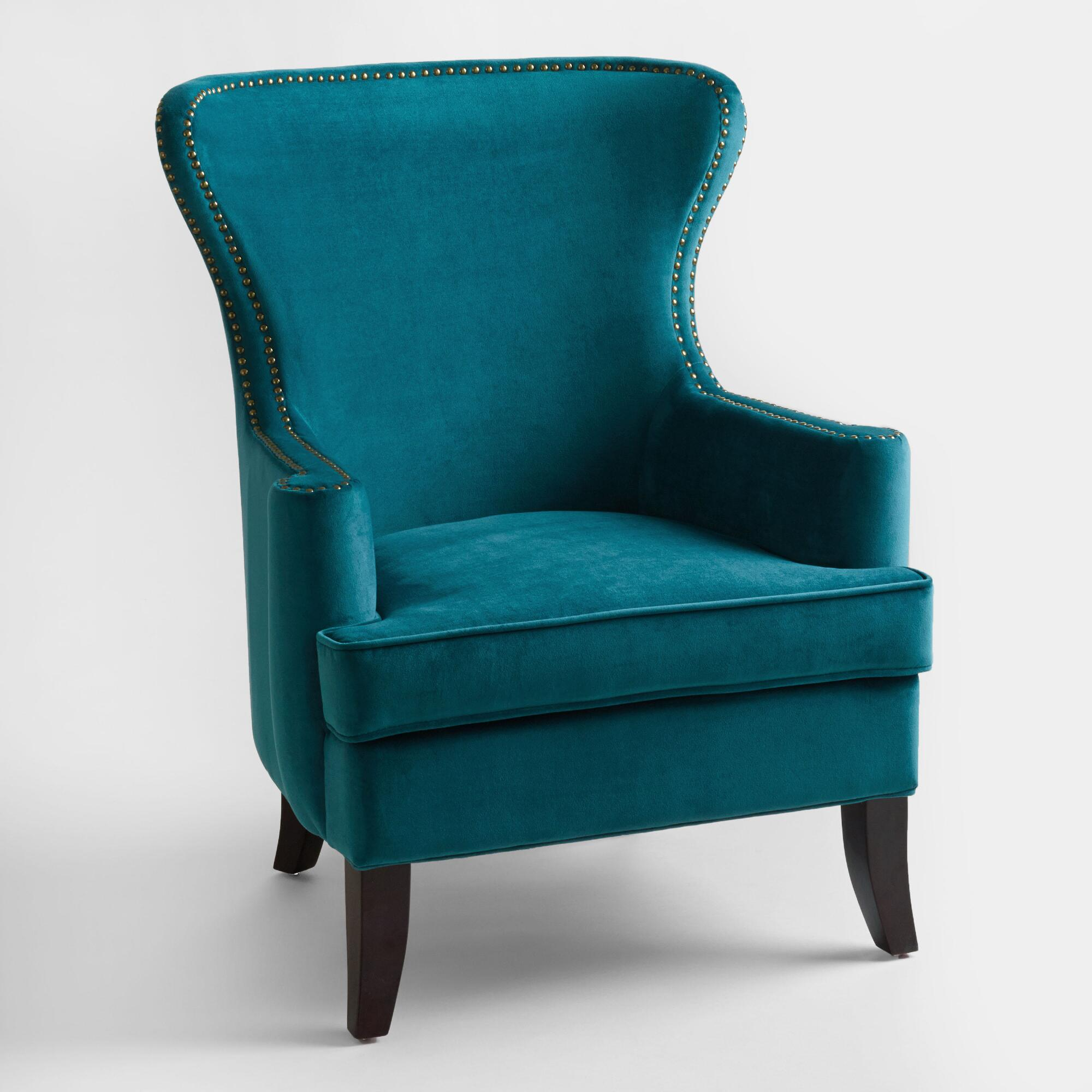 Pacific blue elliott wingback chair world market - Blue living room chairs ...