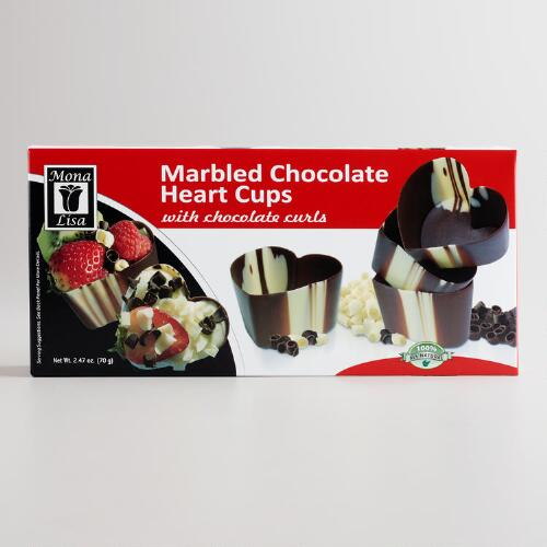 Heart Shaped Marbled Chocolate Cups, 4-Pack