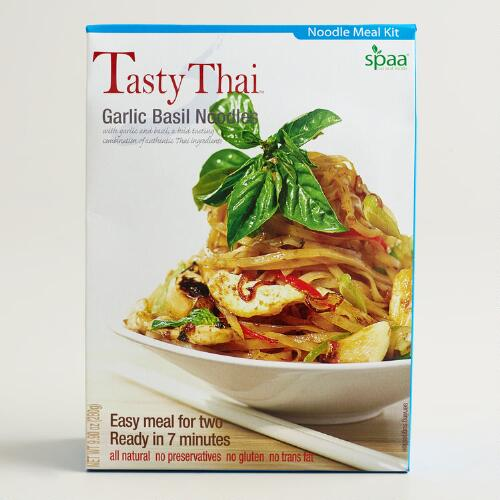 Tasty Thai Garlic Basil Noodle Meal