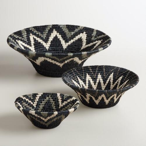 Black, Gray and White Shield Baskets